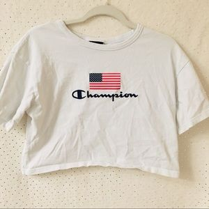 Champion American Flag Crop Top
